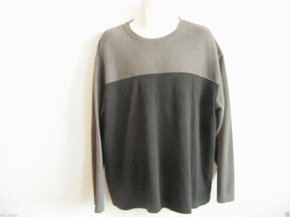Farah Mens Long Sleeve Crew Neck XL Black & Gray Sweater Solid 65% Polyester  #Farah #Crewneck