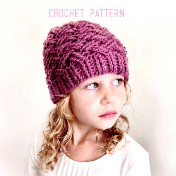CROCHET PATTERN, The Annsley Crochet Hat Pattern, Crochet Hat Pattern, Crochet Cables, Craft Supply, DIY Hat Pattern #uncinettoperbambina