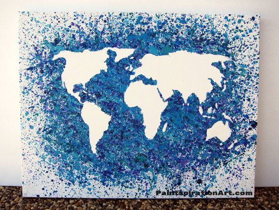 World Map Canvas Painting - Travel Artwork Wanderlust Abstract - new world map canvas picture