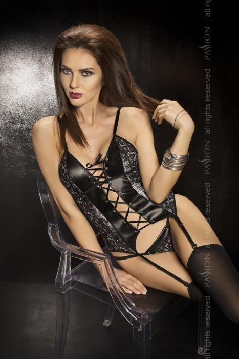 Guêpière sexy noire et string façon cuir à empiècements reptile ... 17546577075