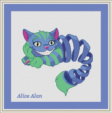 Cross Stitch Pattern Alice in Wonderland Smiling by HallStitch