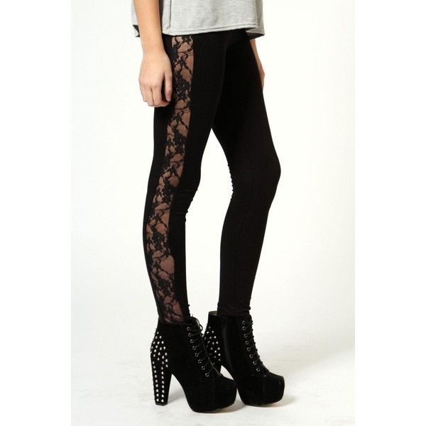Boohoo Night Esme Lace Side Leggings (130 NOK) ❤ liked on Polyvore featuring pants, leggings, bottoms, black, lace print leggings, aztec-print leggings, stripe leggings, aztec pattern leggings and animal print pants