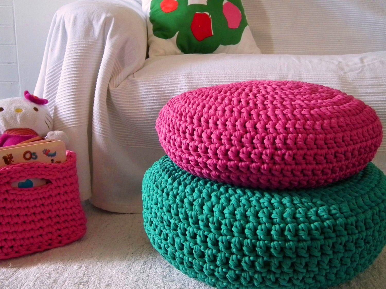 Fuchsia Hot Pink Crochet Ottoman Pouf Fuchsia by LoopingHome