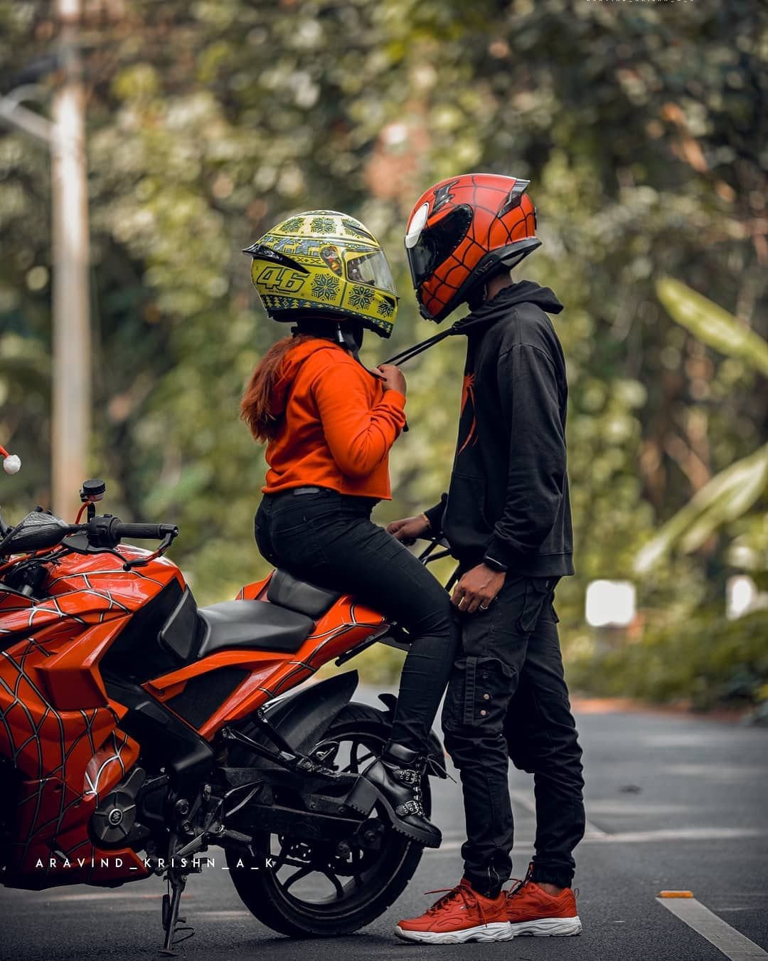 Peter Parker On Instagram No Matter How Far We Are No Matter If Anyone Try To Separate Us No Matter That Our Hat Biker Couple Biker Love Bike Photoshoot Get ktm duke couple wallpaper png