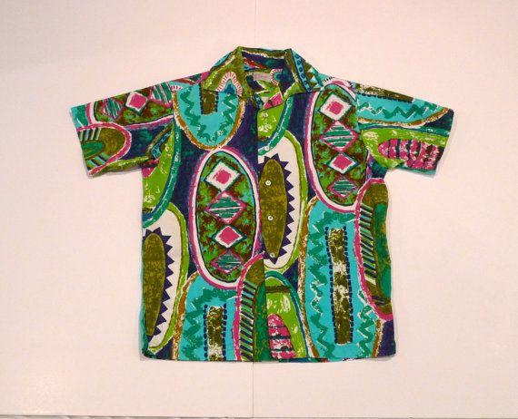 Vintage Womans Hawaiian 1960s Day Dress Tiki Barkcloth Pockets Sleeveless 60s Large Aloha 1970s