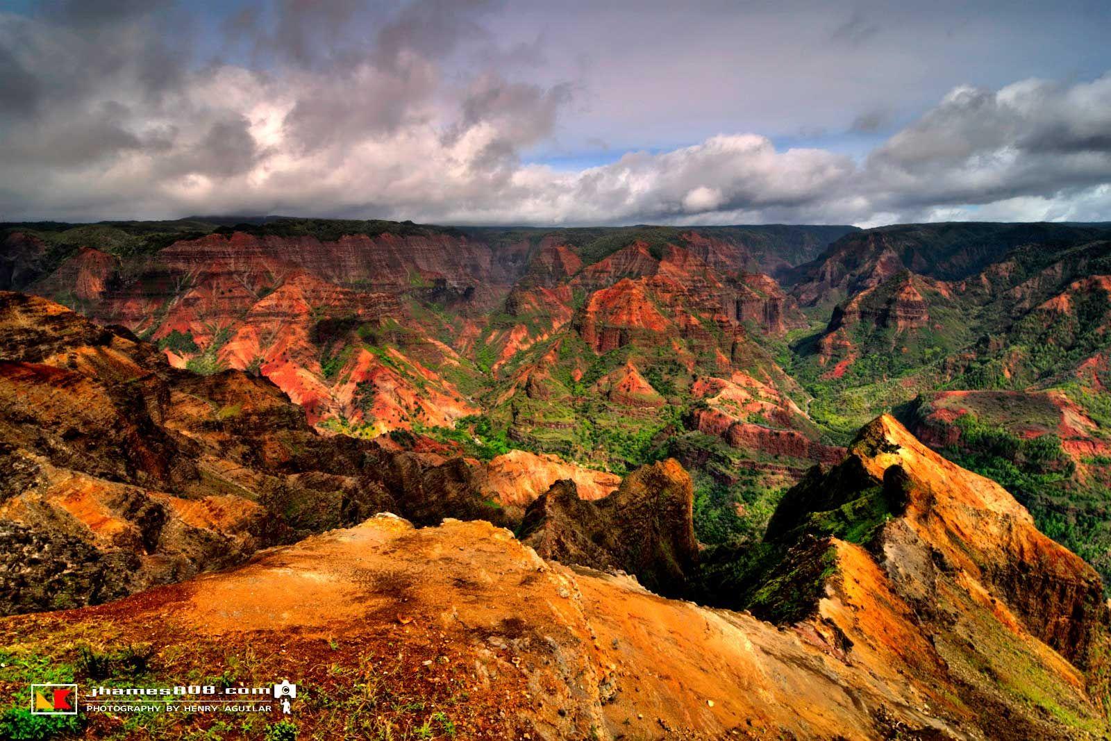 The Waimea Canyon Lookout provides breathtaking panoramic vistas, as ...