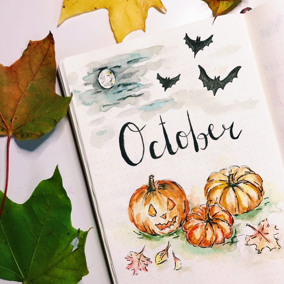 Fall Bullet Journal Cover Pages #halloweenbulletjournal