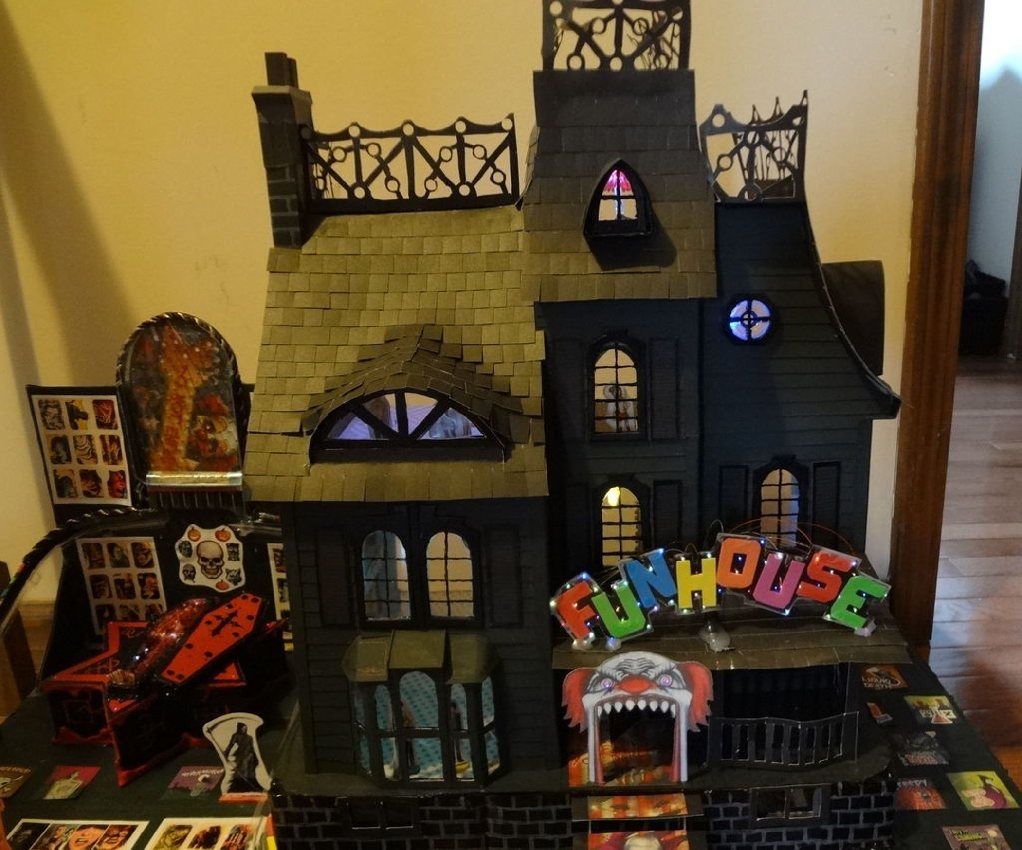 Cardboard Haunted House With Lights. Halloween house