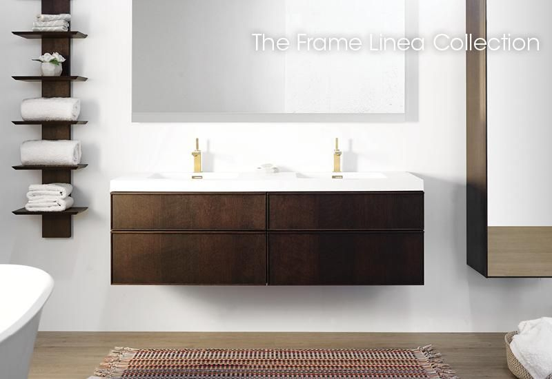 Frame Linea Collection Vanity Mirrored Cabinet Linen Cabinet