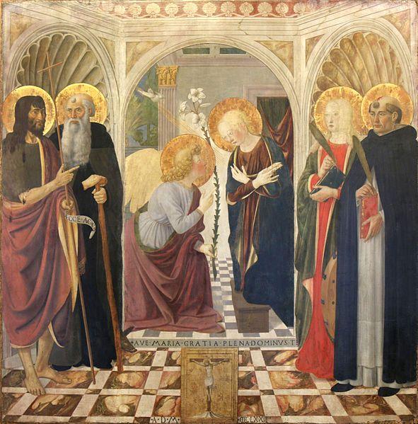 1473:Cosimo Rosselli-L'Annonciation. tempera and gold on poplar wood,149х 147cm,Musée du Petit Palais,Avignon.