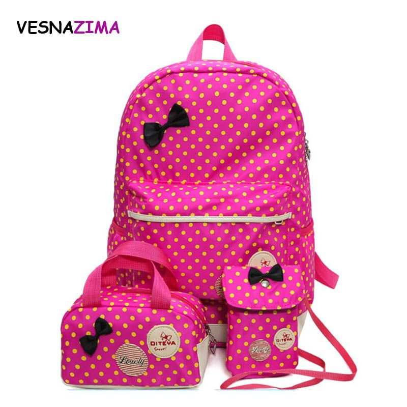 Vesnazima Backpack For Girls Teenager School Bag 3 Pcs Set Schoolbag Large  Capacity Dot Printing ca55e74e57a9a