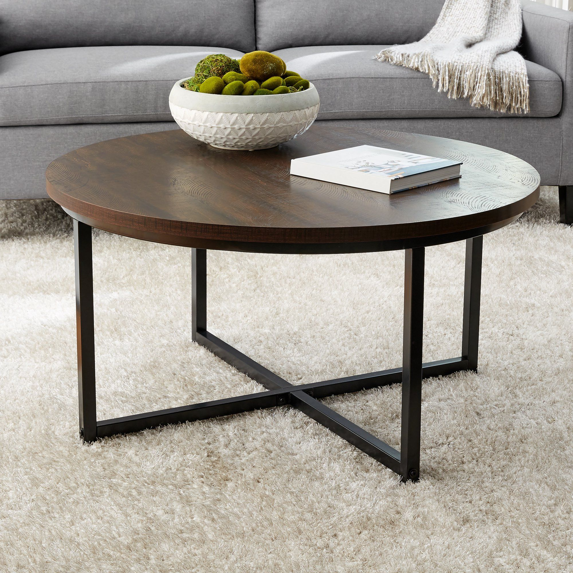 Mainstays Round Coffee Table With Metal Legs 36 D X 19 H Walmart Com Coffee Table Round Coffee Table Stylish Coffee Table [ 2000 x 2000 Pixel ]