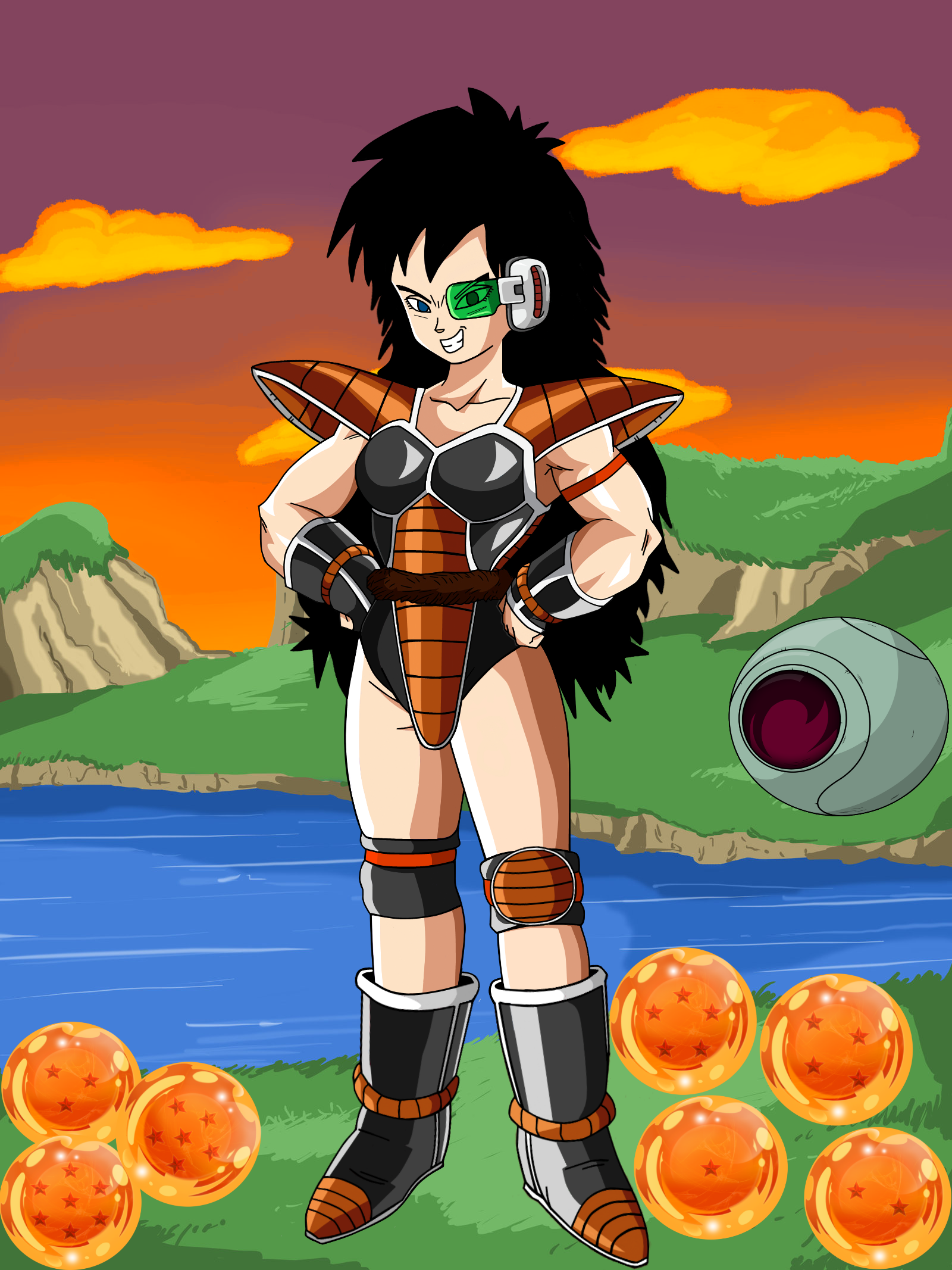 Female Saiyan With Raditz Armor W Backround Anime Dragon Ball Super Fantasy Fighter Concept Art Characters