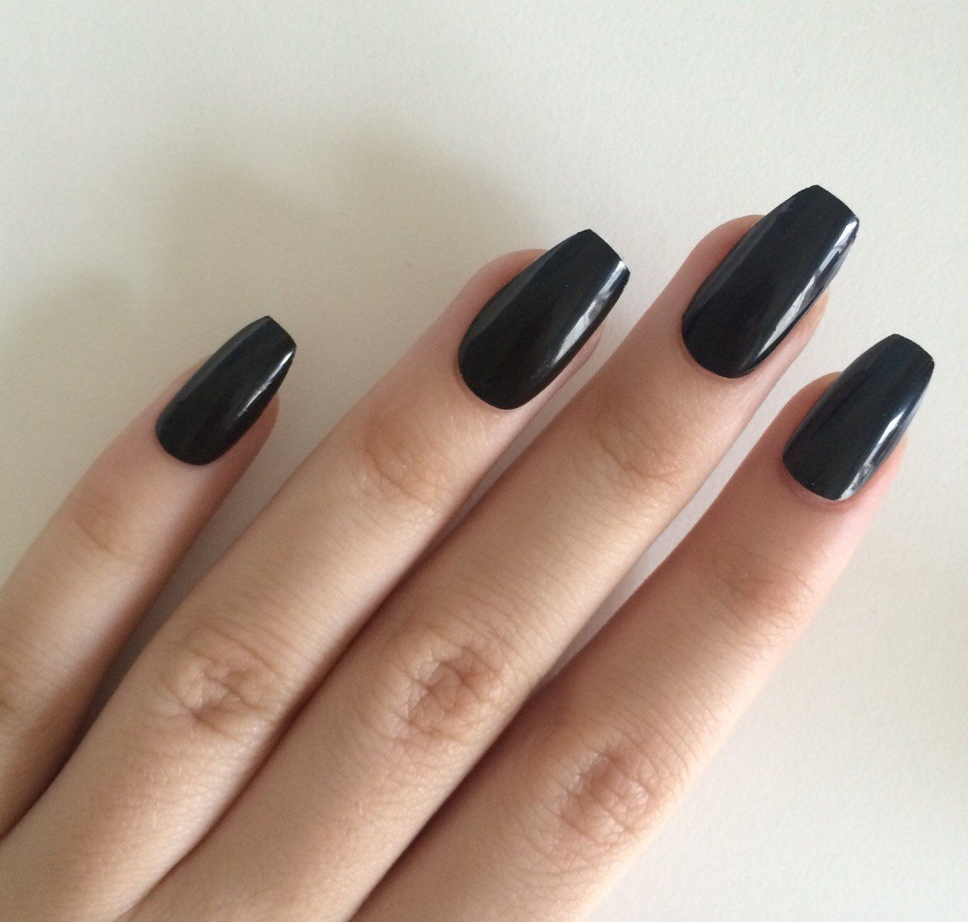 Popular Items For Coffin Shaped Nails On Etsy Fake Nails Painted Acrylic Nails Black Acrylic Nails