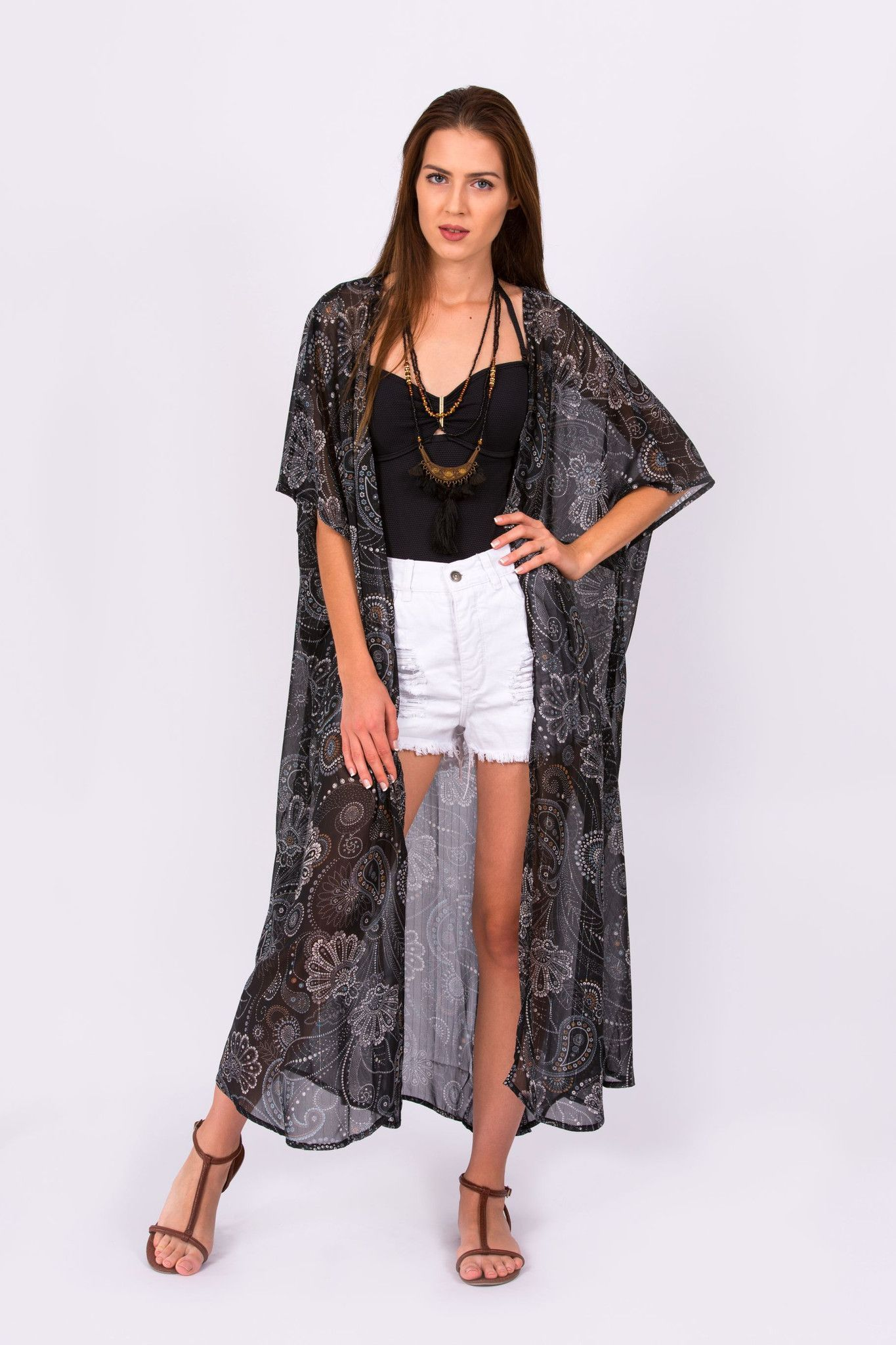 16c97586a0e44 Wineglass Bay Black Kaftan Kimono with Silver Paisley Print - Available in  Short, Mid and Full Length
