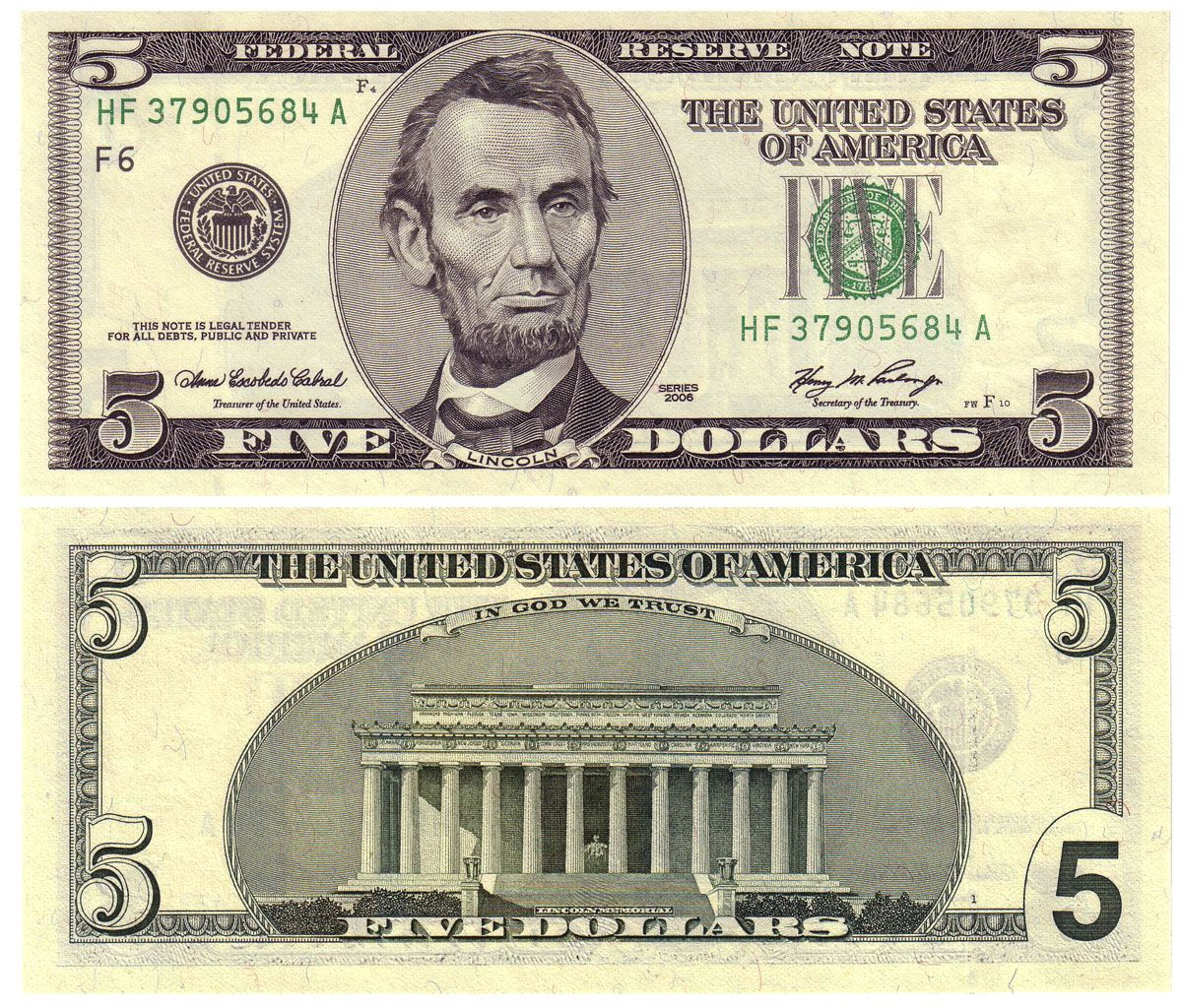 Printable Dollar Bills 2006 5 Old Style