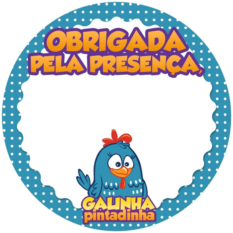 Tag Galinha Pintadinha - Obrigada Pela Presença (Completar com o Nome do Aniversariante e/ou Data do Evento)