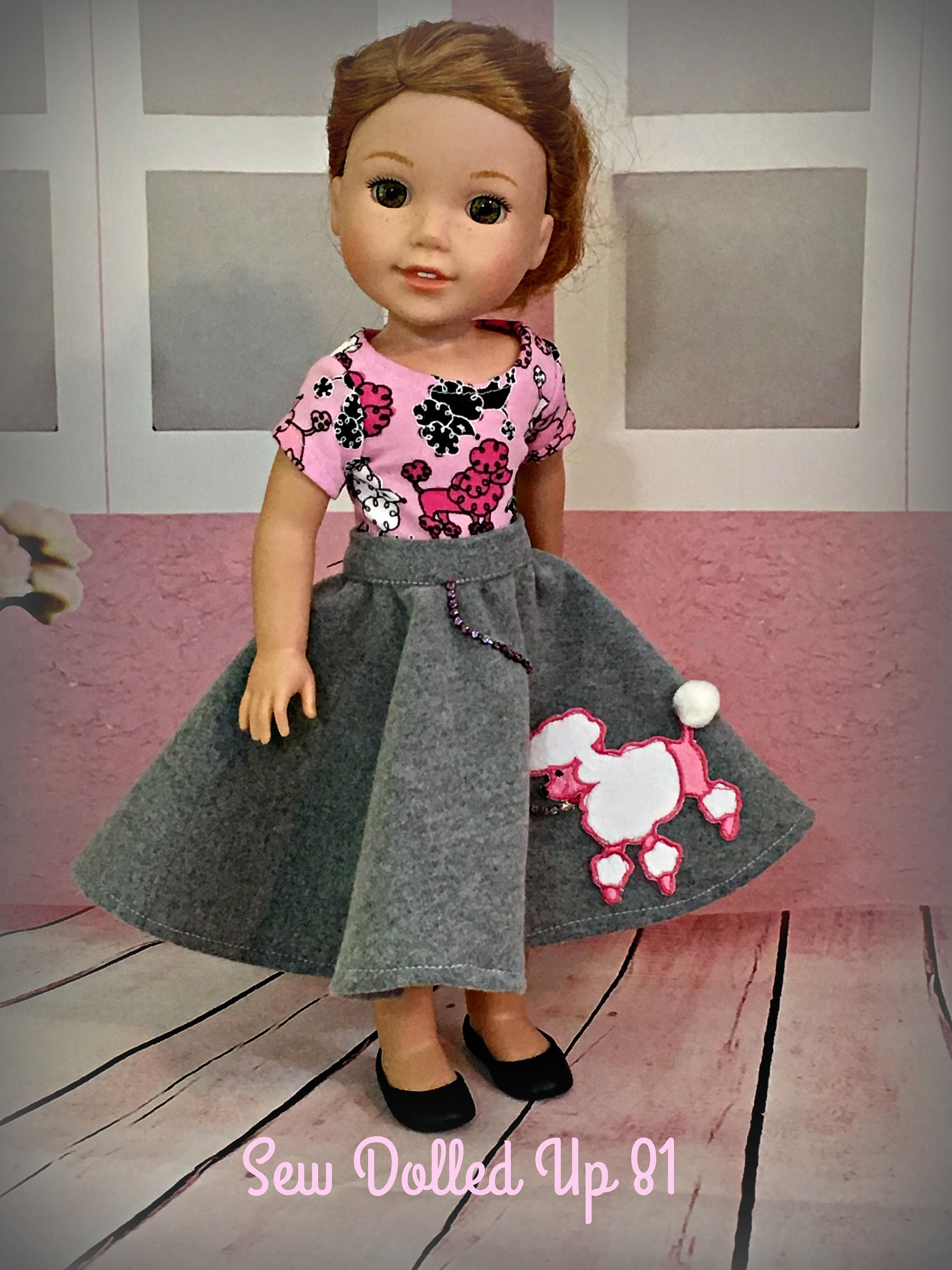 """Pink and Black 50s Poodle Skirt Outfit Fits Wellie Wishers 14.5/"""" American Girl"""