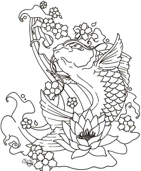 Blooming Lotus And Coy Fish Coloring Pages Kids Play Color Fish Coloring Page Koi Fish Colors Coloring Pages