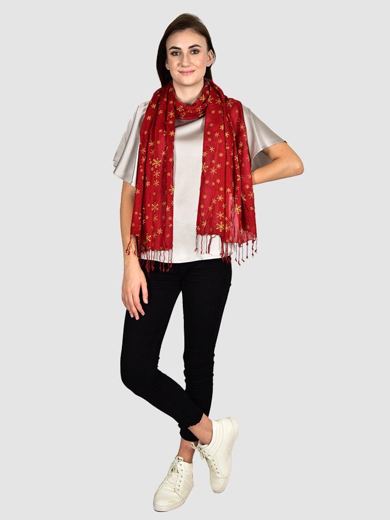 Bufanda larga roja Pañuelos de mujer Rayón indio Estola de