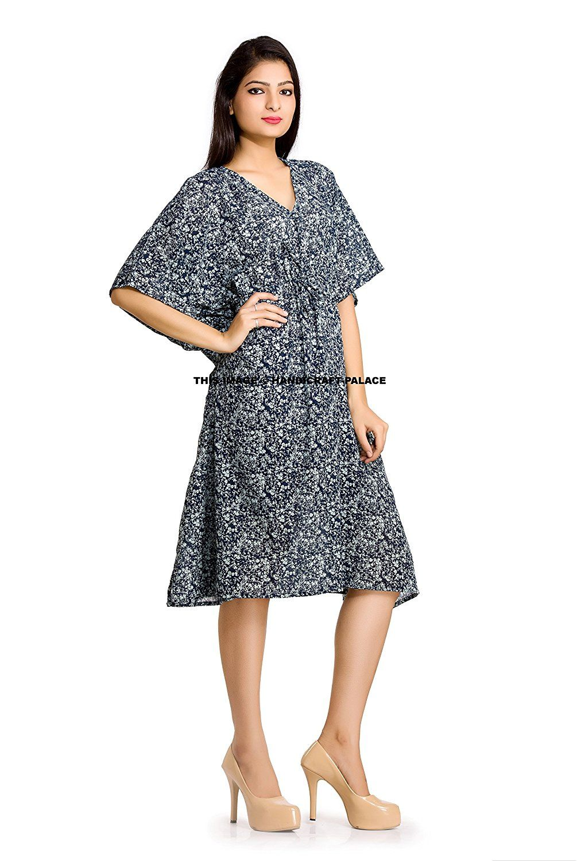 New stylish beautiful women colorful printed short kaftan robe plus