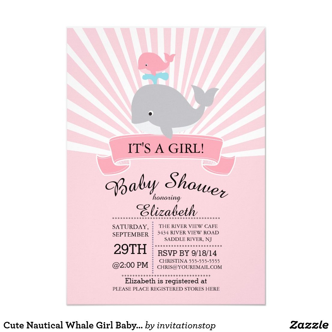 Cute Nautical Whale Girl Baby Shower Invitation | Shower invitations