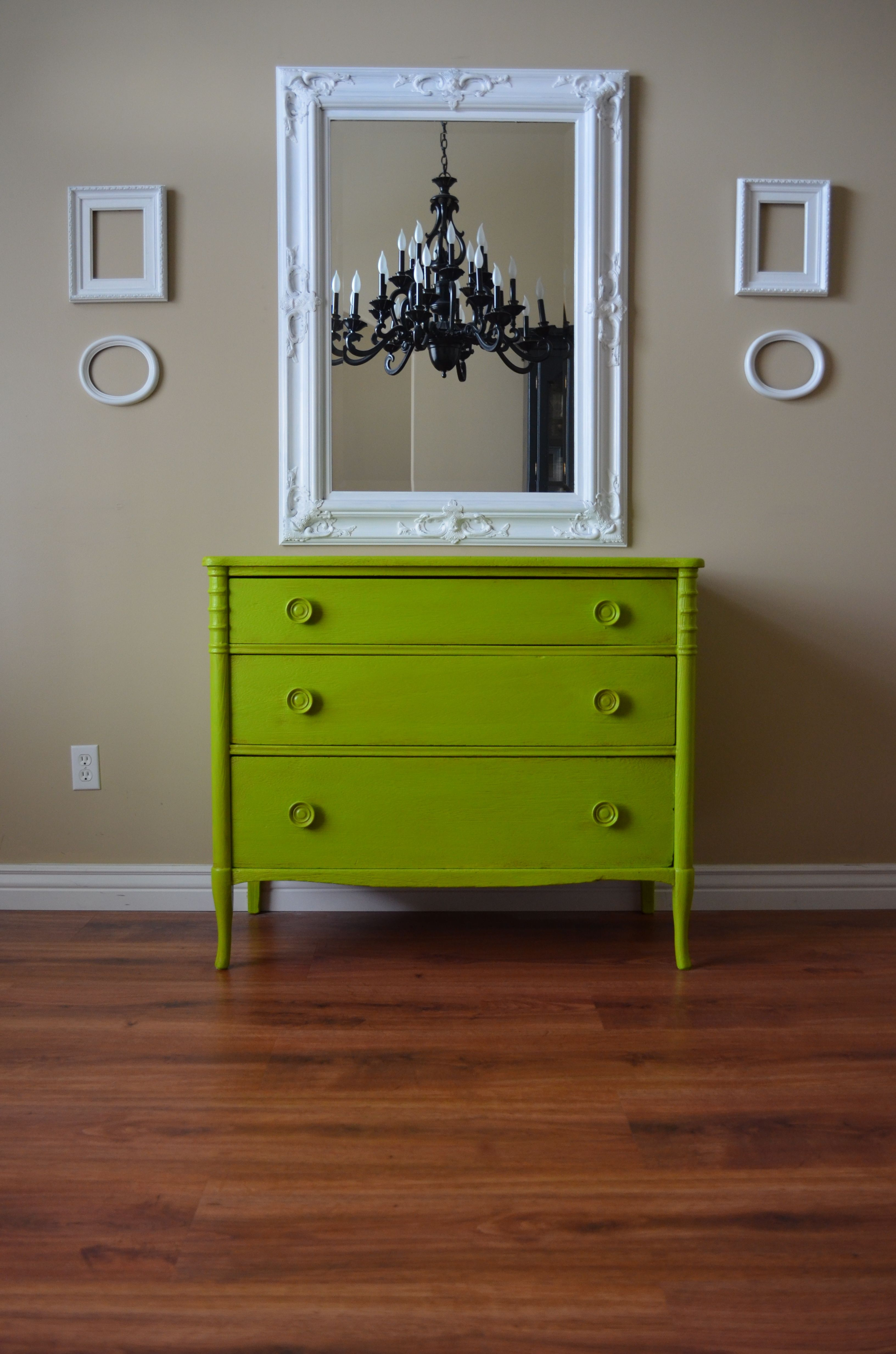 Best Lime Apple Chartreuse Green Dresser For Her Dining Room On Neutral Wall With White Frames 400 x 300