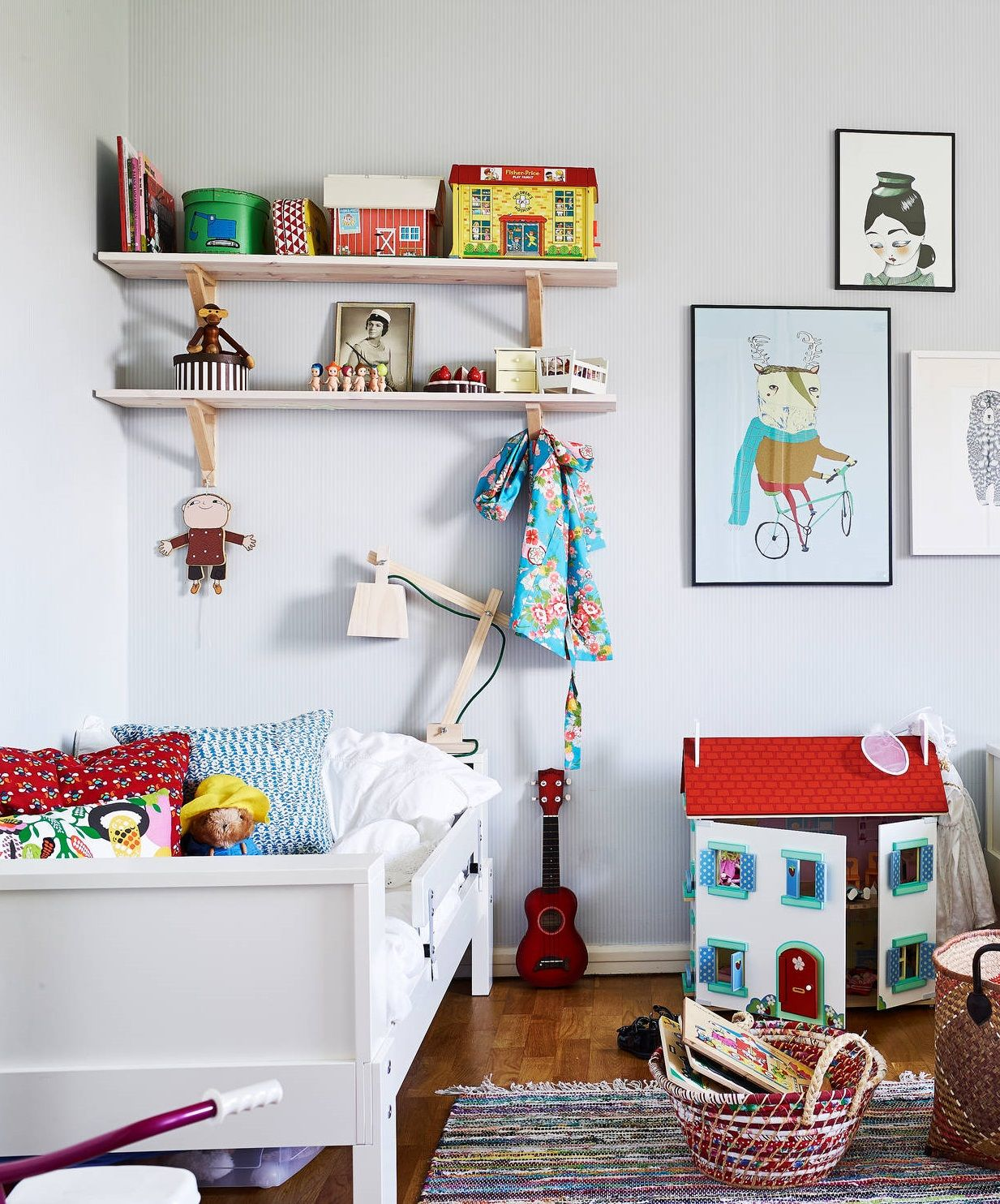Children's room. Happy, colorful, retro toys, playful, wooden shelves and floors.