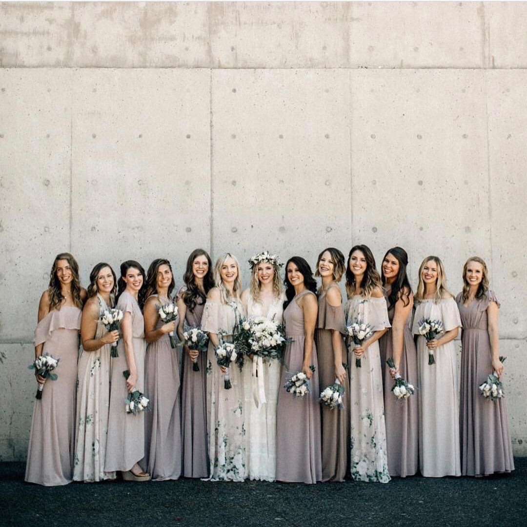 Bride S Tribe In A Mix Of Neutrals Our Bouquet Toss Print