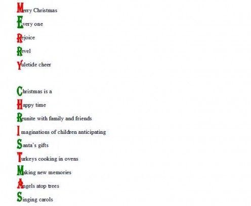 Acrostic Christmas poetry