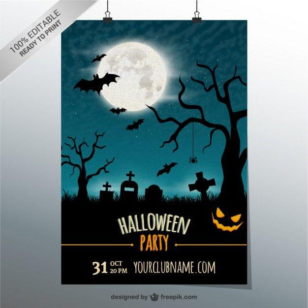 Plantilla de cartel editable para Halloween Vector Gratis ...