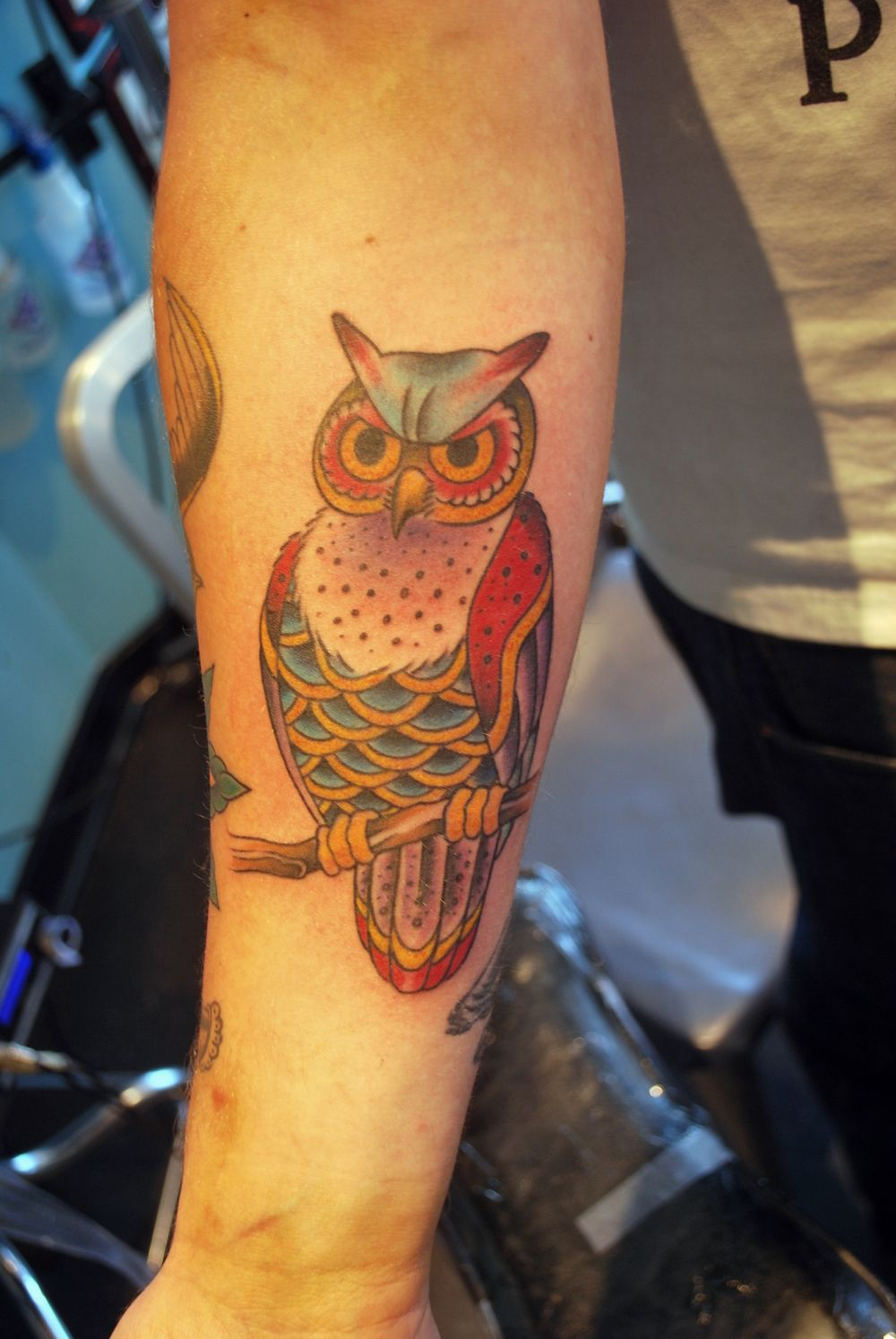 Traditional Owl Tattoos Pin Traditional Owl Hour Glass