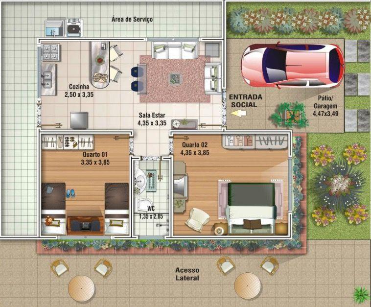 Plano de casa de 80m2 planos de casas chicas planos de for Casa moderna 80m2