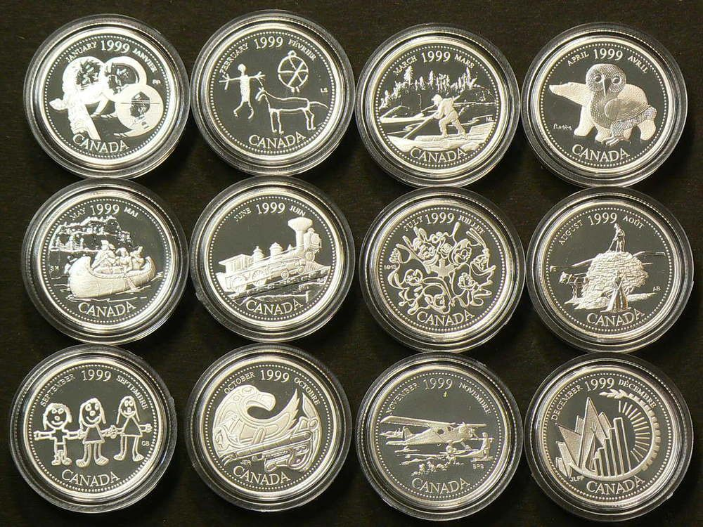1999 Canada 25 Cents Silver Millennium Set With Coa 12 Coins 2010 Coins Canadian Coins Coins Worth Money