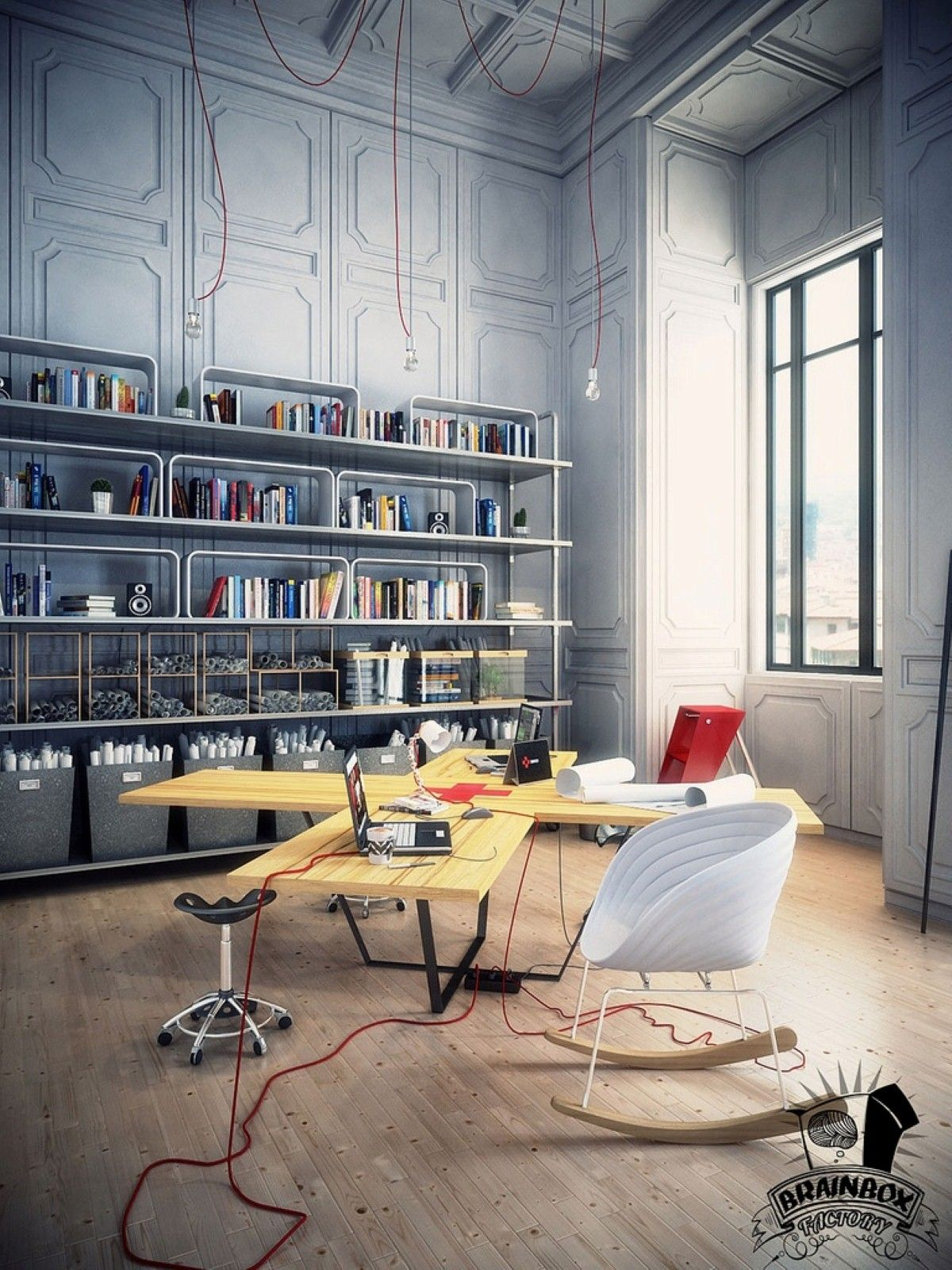 Cool home office designs cute home office Unique Awesome Workspace And Home Office Design Cozy Modern Home Office With Multi User Quirky Cross Desk And Cute White Rocking Chairs Pinterest Awesome Workspace And Home Office Design Cozy Modern Home Office