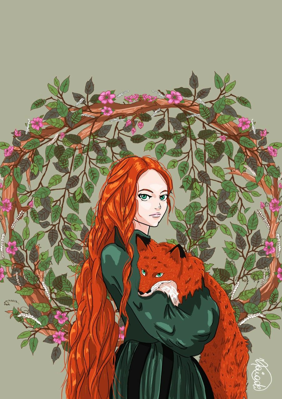 The Girl And The Fox In 2020 Girl Drawing Pictures Redhead Art Girl Drawing