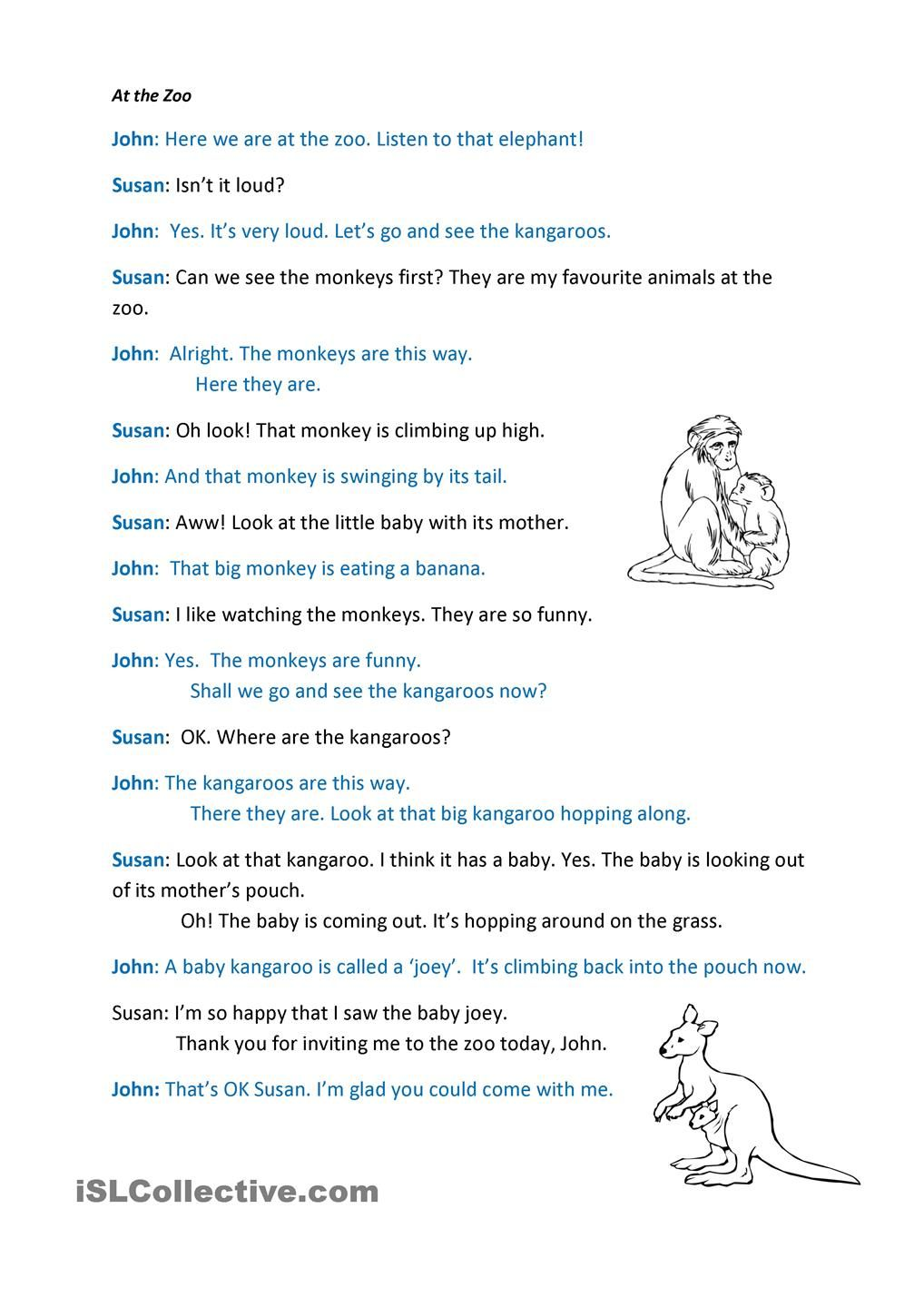 Worksheets Dialogue Worksheets at the zoo dialogue world pinterest zoos worksheets and worksheet free esl printable made by teachers