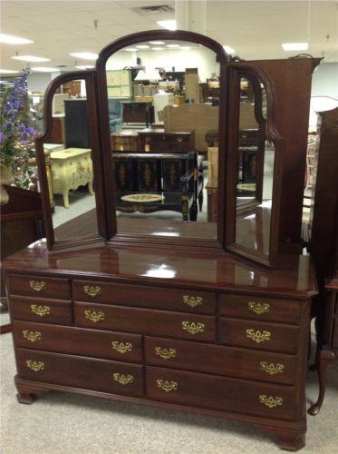 Ethan Allen Cherry Triple Dresser With Mirror 10 Drawers Master