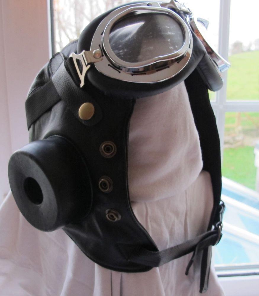 Biggles Classic Flying WWII Pilot Helmet Fancy Dress World War Aviator Hat Film