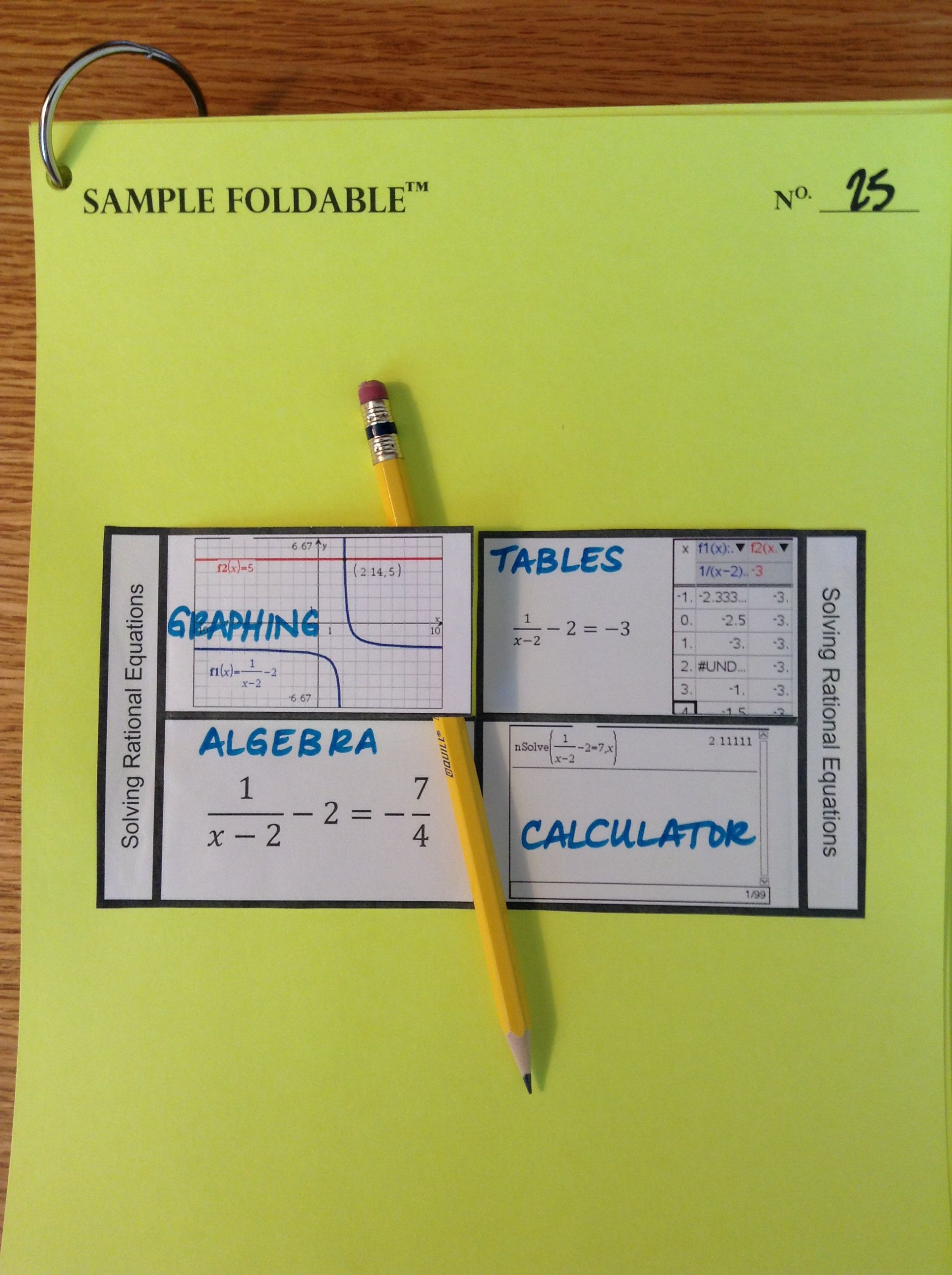 Solving Rational Equations Foldable Using Multiple Representations And Ti Nspire Screenshots