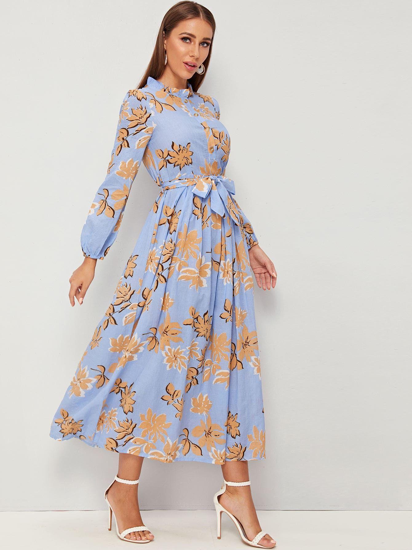 Elegant a line floral flared regular fit stand collar long
