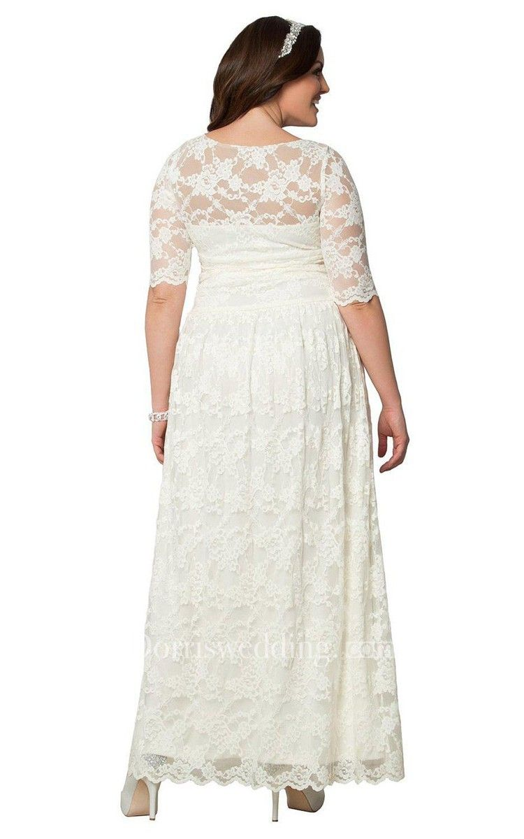 Free shipping plus lace long bateau size dress with sleeves