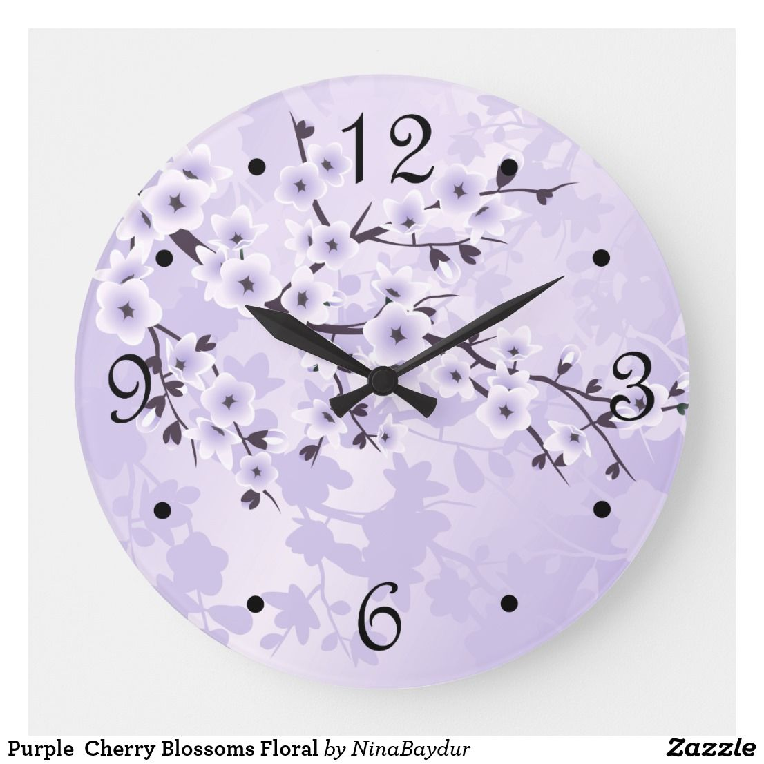 Einzel-schlafzimmer-wohndesign purple cherry blossoms floral large clock in   wall clocks