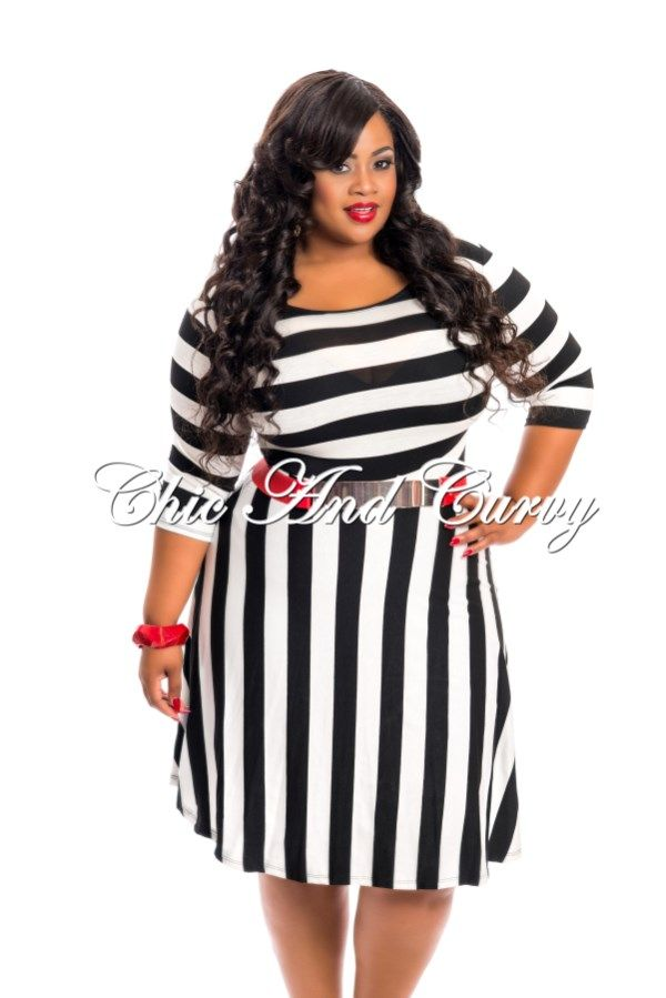 New Arrival New Plus Size Skater Dress with Black and White ...