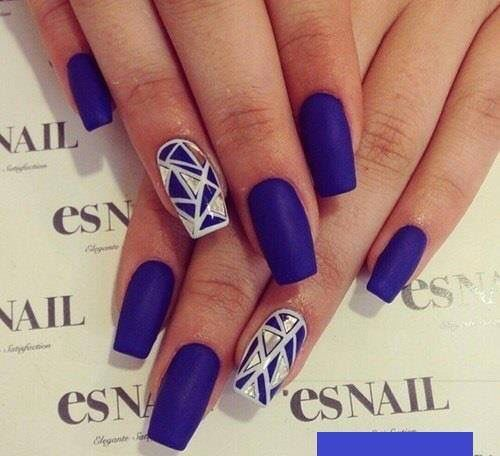 Great dark blue and nice metallic design nails designs royal purpleblue matte nails with geometric metallic silver accent prinsesfo Images