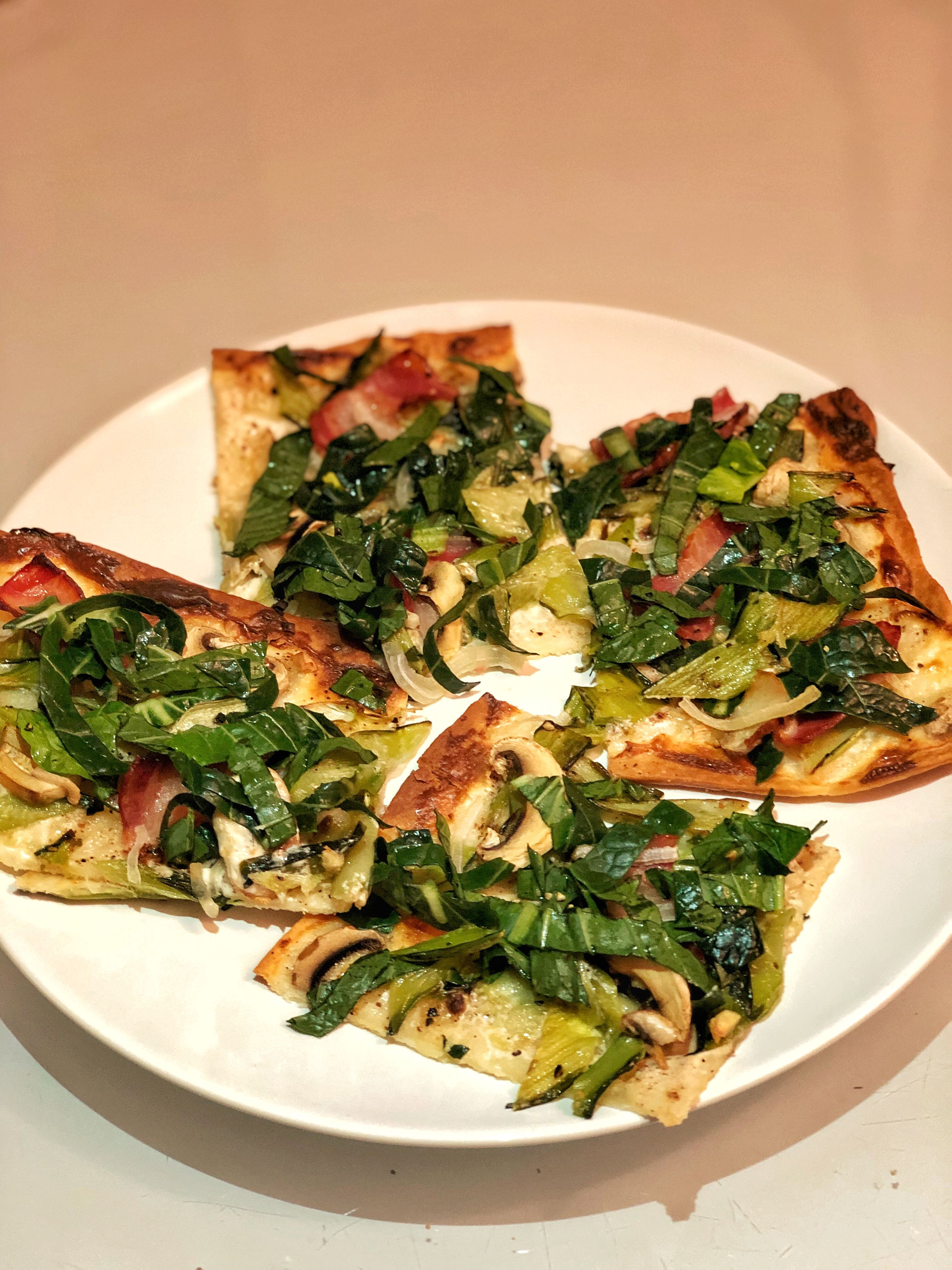 Tarte Flambee With Bok Choi Bacon And Mushrooms