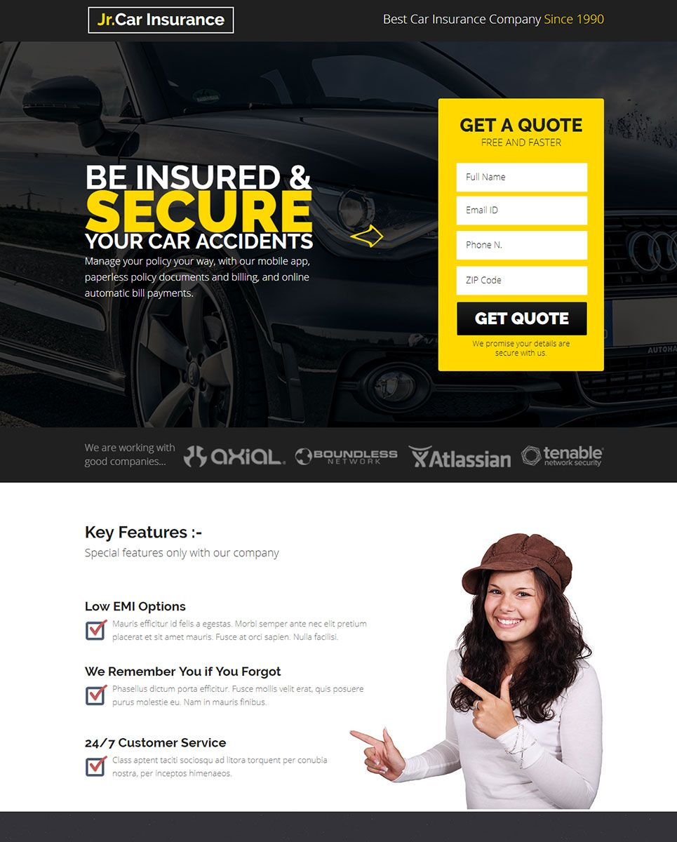 Jr Auto Auto Insurance Landing Page Muse Template 68088 With