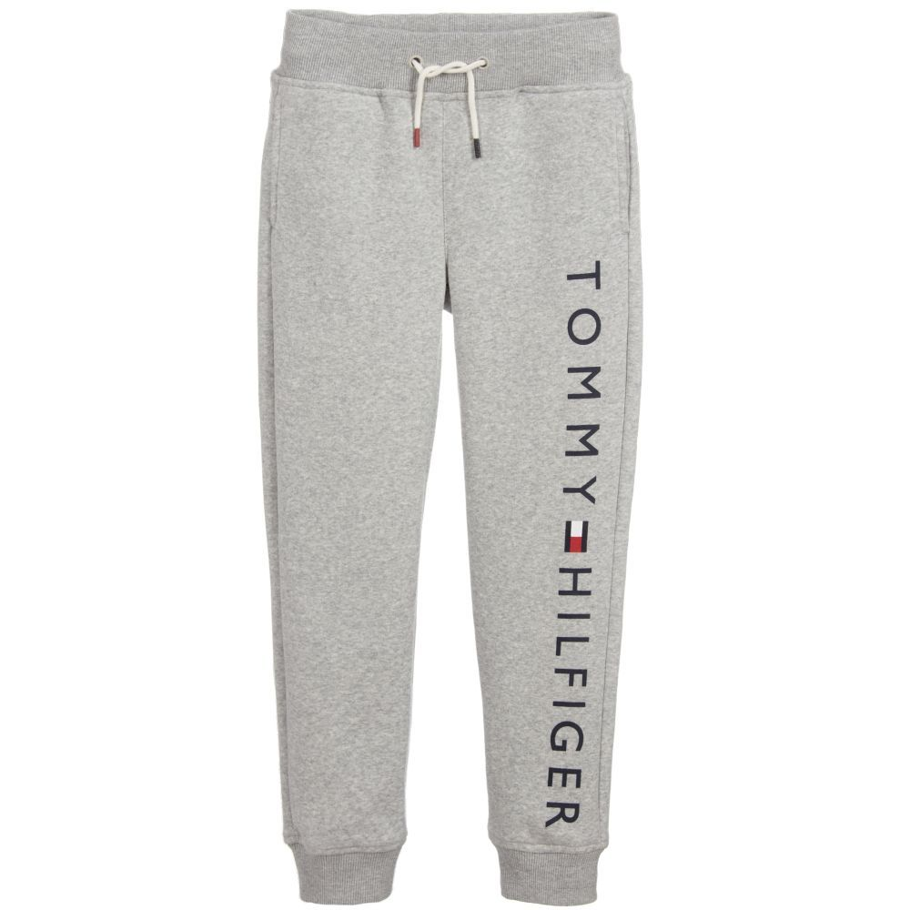 Boys Grey Joggers From Tommy Hilfiger With The Designer S Name Printed In Navy Blue On One Leg Made In Mid W Boy Outfits Leggings Are Not Pants Comfy Outfits