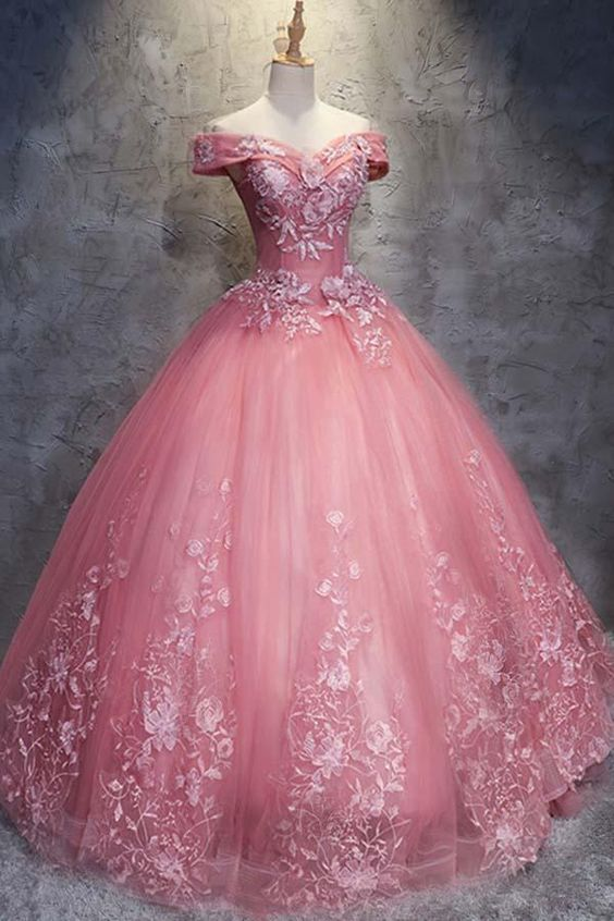 Ball Gown Off-the-Shoulder Watermelon Tulle Wedding Dress With Appliques-Pgmdress