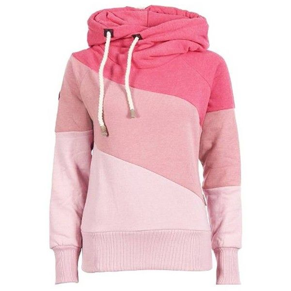 Polo Neck Warm Hoody Hoodie Sweatshirt Jumper ($14) ❤ liked on Polyvore featuring tops, hoodies, print hoodies, patchwork hoodie, pattern hoodie, hooded sweatshirt and pink hoodies